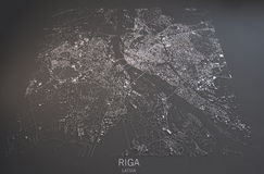 Map of Riga, satellite view, map in negative, Latvia Royalty Free Stock Images
