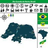 Map of Rio Grande do Norte, Brazil Stock Images