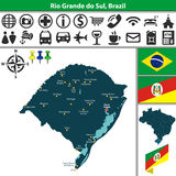 Map of Rio Grande do Sul, Brazil Royalty Free Stock Images