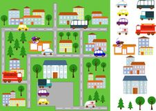 Map with roads, cars and buildings. Map of the city with a road, with a variety of transport. individual elements, machines, houses. Vector Stock Photos