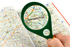 Map of roads and Magnifier Stock Photos