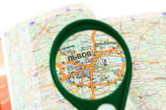 Map of roads and Magnifier Royalty Free Stock Image