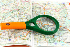 Map of roads and Magnifier Royalty Free Stock Images