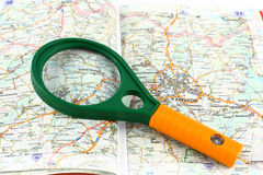 Map of roads and Magnifier Stock Photo