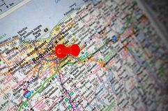 Rochester, New York. A map of Rochester, New York marked with a push pin royalty free stock images