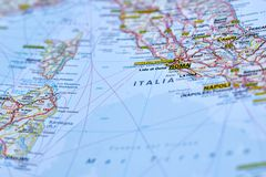 Map of Roma. Close up of the map of Italy, where the city of Rome and the Vatican are located geographically Royalty Free Stock Photo