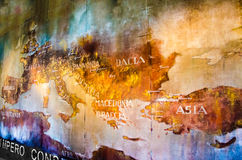 Map of roman empire. Old Map of roman empire painted on the wall of roman Colosseum Stock Photography