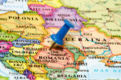 Map of Romania with a blue pushpin Royalty Free Stock Photography
