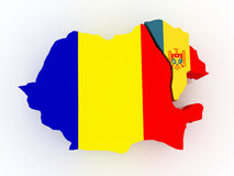 Map of Romania and Moldova. Royalty Free Stock Image