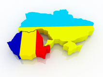 Map of Romania and Ukraine. Stock Photography