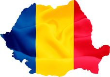 Romania Map with Flag. Romania map with waving flag on satin texture isolated on white stock image