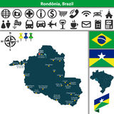 Map of Rondonia, Brazil Stock Images