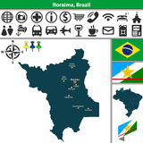 Map of Roraima, Brazil Royalty Free Stock Image