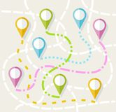 Map, route, direction, path, navigation, color, flat. Stock Photo