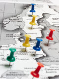 Map route marked Royalty Free Stock Image