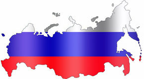 Map of Russia. With flag colours on white background Stock Image