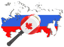 Map of Russia. Canada sanctions against Russia. Judge hammer Canada, flag and emblem. 3d illustration. Isolated on white backgroun Stock Image