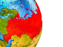 Map of Russia on 3D Earth. Russia on 3D model of Earth with divided countries and blue oceans. 3D illustration royalty free illustration