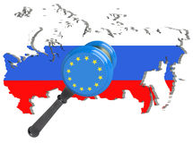 Map of Russia. European Union sanctions against Russia. Judge hammer European Union, flag and emblem. 3d illustration.  on Stock Images