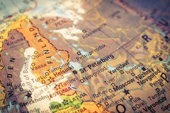 Map of Russia and Finland. Close-up image Royalty Free Stock Photo