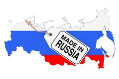 Map of Russia with Flag and Made in Russia Sale Tag. 3d Rendering. Map of Russia with Flag and Made in Russia Sale Tag on a white background. 3d Rendering royalty free illustration
