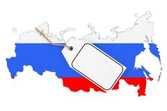Map of Russia with Flag and White Blank Mockup Sale Tag. 3d Rendering. Map of Russia with Flag and White Blank Mockup Sale Tag on a white background. 3d stock illustration