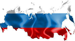 Map of Russia with flag. Russia map with wind waving flag