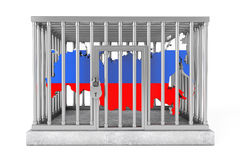 Map of Russia in Metal Cage with Lock Stock Photography