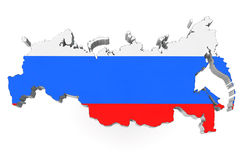 Map of Russia in Russian flag colors Stock Image
