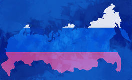 Map of russia russian national flag colors background Stock Image