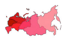 Map of Russia. In shades of red royalty free illustration