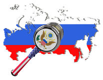 Map of Russia. United States sanctions against to Russia. Judge hammer United States of America, flag and emblem. 3d illustration. Royalty Free Stock Photo