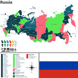 Map of Russia. Vector map of Russia with named regions, flag and badges Royalty Free Stock Images