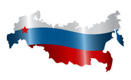 Map of the Russian Federation. Colored like the Russian flag. Vector-Illustration royalty free illustration