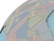 Map of Rwanda with flag. Rwanda on political globe with embedded flags. 3D illustration Royalty Free Stock Image