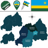 Map of Rwanda with named provinces Royalty Free Stock Photos