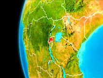 Map of Rwanda in red. Rwanda as seen from Earth's orbit on planet Earth highlighted in red with visible borders. 3D illustration. Elements of this image Royalty Free Stock Photos