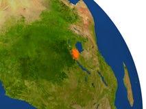 Map of Rwanda in red Royalty Free Stock Image