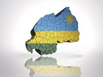 Map of rwanda. With rwandan Flag on a white background Royalty Free Stock Photos