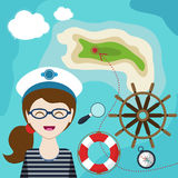 Map with a sailor, lifeline, steering wheel, compass and magnifier on background  sea Royalty Free Stock Images