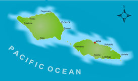 Map of Samoa. A stylized map of the islands of Samoa showing different big cities Stock Photo
