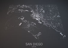 Map Of San Diego Usa Satellite View Royalty Free Stock Images