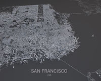 Map of San Francisco, satellite view, map in negative, Usa, California Royalty Free Stock Image