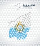 Map of San Marino with hand drawn sketch map inside. Vector illustration. Vector sketch map of San Marino with flag, hand drawn chalk illustration. Grunge design royalty free illustration