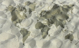 Map in sand Royalty Free Stock Images