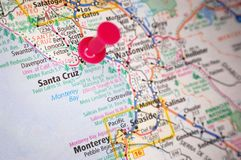 Santa Cruz, California. A map of Santa Cruz, California marked with a push pin stock images