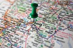 Santa Fe, New Mexico. A map of Santa Fe, New Mexico marked with a push pin royalty free stock photos