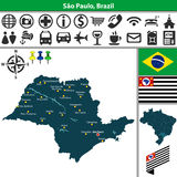 Map of Sao Paulo, Brazil. Vector map of region of Sao Paulo with flags and location on Brazilian map Royalty Free Stock Photo