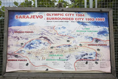 Map of Sarajevo at the war tunnel museum showing how the city was surrounded by Serbian forces in the war of 1992-1995. Sarajevo, Royalty Free Stock Images