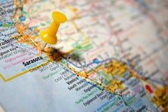 Sarasota, Florida. A map of Sarasota, Florida marked with a push pin stock photos